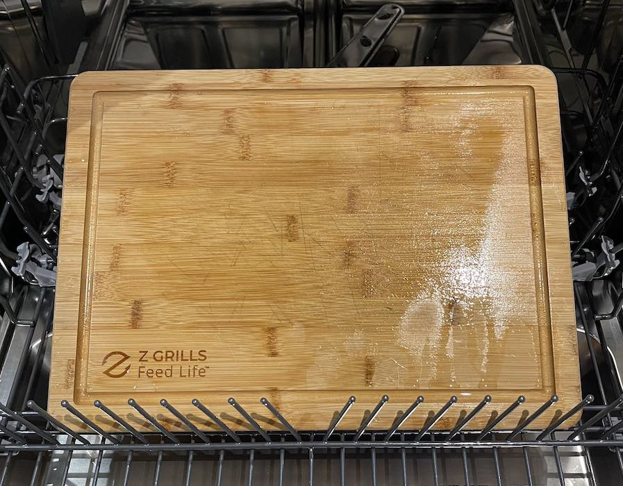 Do not wash a Z Grills wooden cutting board in a dish washer