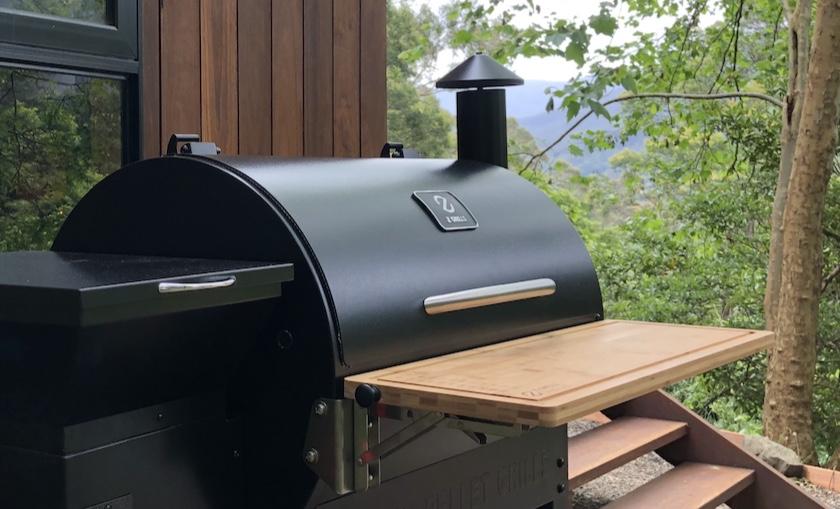 Z Grills pellet smoker wooden front folding bench