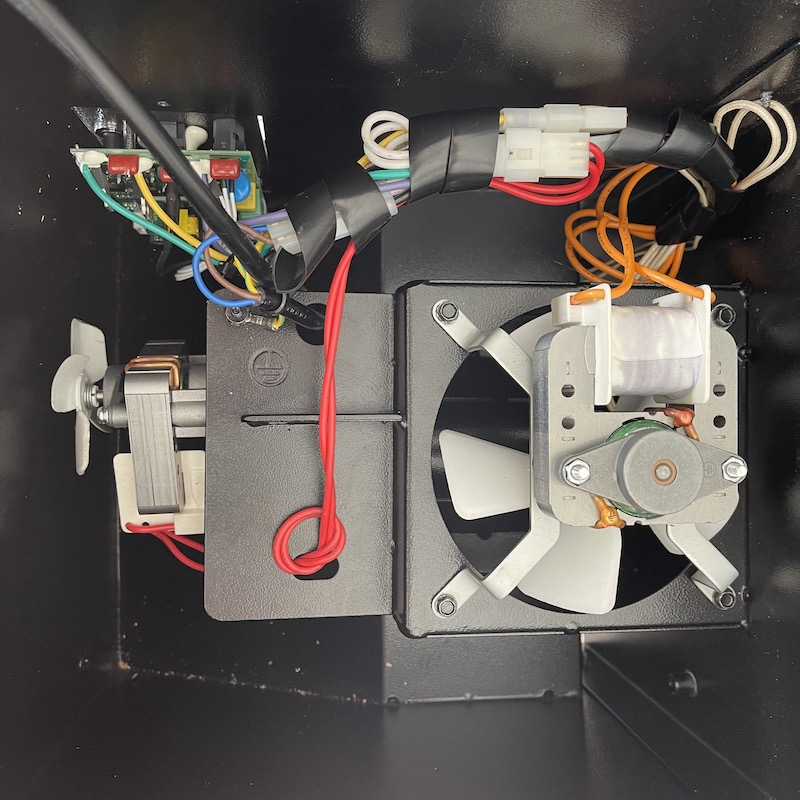 Grill underneath view of components